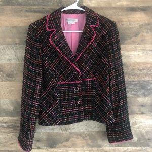 14 Kay Unger Tweed Crop Blazer Jacket